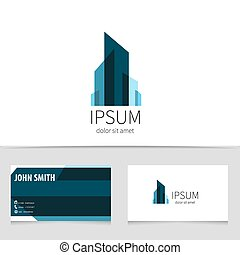 Creative building logo design with business card template....