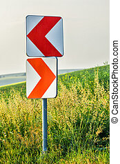 Road curve signs - Road curve warning signs on steep curve...
