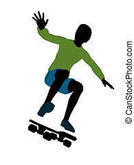 African American Skateboarder Silhouette - African american...