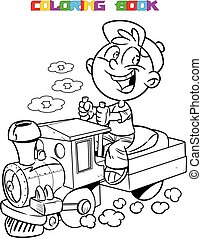locomotive - The illustration shows a boy who plays in...