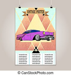 Vintage poster with high detail lowrider. Grunge texture. -...