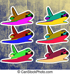 Pop art stickers set. Hand drawing retro shuttle.Vector...