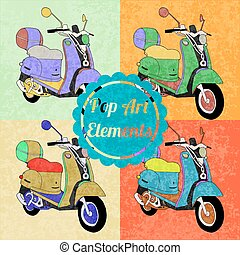 Pop art style elements. Set of vector scooters