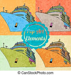 Pop art style elements. Set of vector cruise liners