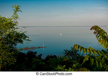 Lake Balaton And Sailboat