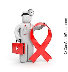 Doctor with red ribbon - Doctor against AIDS Red ribbon is a...