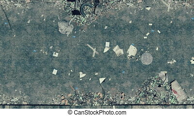 Littered asphalt road top view - Top view of the abandoned...