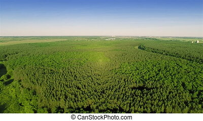 Flying over fields and forest - Aerial shot: Flying over...