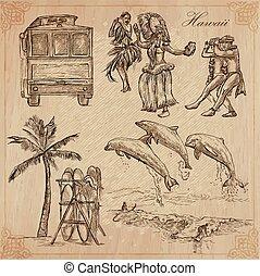 Hawaii - Travel. An hand drawn vectors.