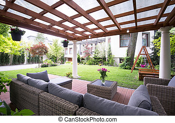 Modern arbour with garden furniture - Designed modern arbour...