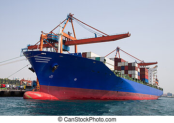 Container ship  - Container Ship is loading in a port