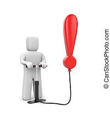 The person pumps up exclamation point - Business metaphor...