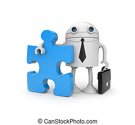 Robot businessman with puzzle - Business metaphor Isolated...