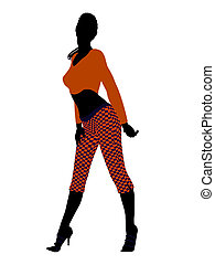 African American Casual Woman Illustration Silhouette -...