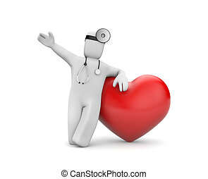 Doctor with heart - Medical metaphor Isolated on white