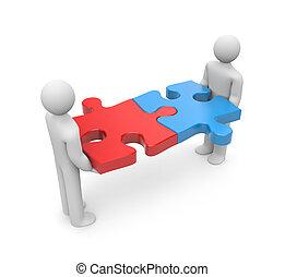 Partnership metaphor. Isolated on white