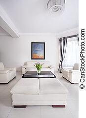 White living room design - Vertical view of white living...