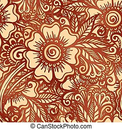 Hand-drawn floral seamless pattern in Indian mehndi style -...