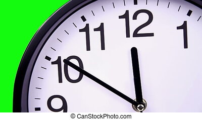 Wall clock on a green 00:00 TimeLapse - Wall clock on a...