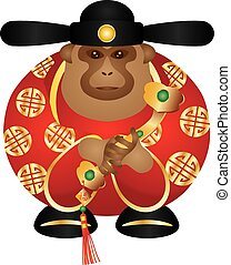 Chinese Money God Monkey with Ruyi Scepter Color...