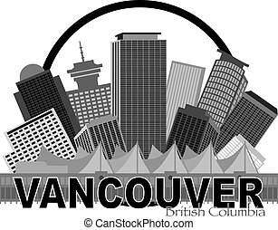 Vancouver BC Canada Skyline Circle Grayscale Illustration -...