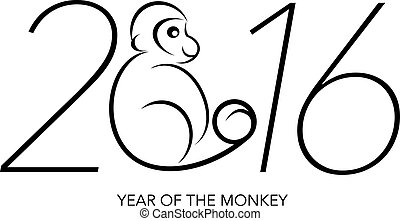 2016 Year of the Monkey Numerals Line Art - 2016 Chines...