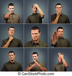 Collection of male face negative expressions - Collection of...
