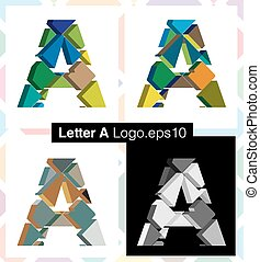 3d font letter A - Colorful three-dimensional font letter A