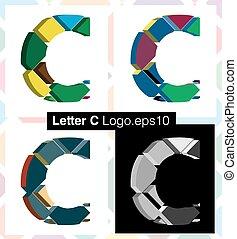3d font letter C - Colorful three-dimensional font letter C