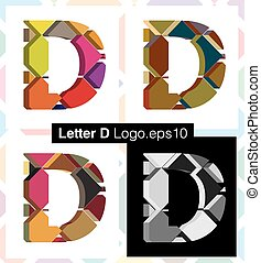 3d font letter D - Colorful three-dimensional font letter D