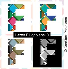3d font letter F - Colorful three-dimensional font letter F
