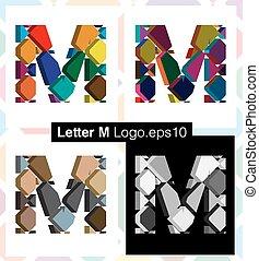 3d font letter M - Colorful three-dimensional font letter M