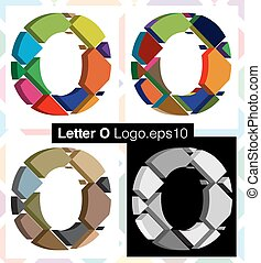 3d font letter O - Colorful three-dimensional font letter O