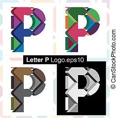 3d font letter P - Colorful three-dimensional font letter P