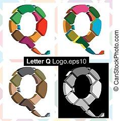 3d font letter Q - Colorful three-dimensional font letter Q