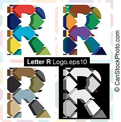 3d font letter R - Colorful three-dimensional font letter R