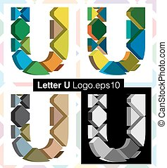 3d font letter U - Colorful three-dimensional font letter U