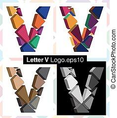 3d font letter V - Colorful three-dimensional font letter V