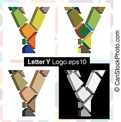 3d font letter Y - Colorful three-dimensional font letter Y