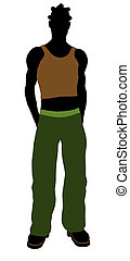 African American Casual Illustration Silhouette - African...