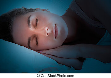 Woman Sleeping - Woman sleeping in the dark