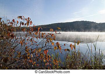 Early morning at Monksville Reservoir, Hewitt, New Hersey,...