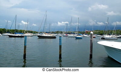 Time lapse marina boats - Overcast day Miami Florida Time...