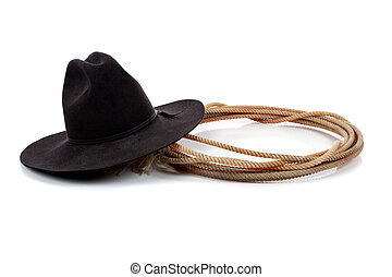 Black cowboy hat and lasso on white - A Black cowboy hat and...