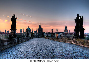 Charles bridge Prague at dawn