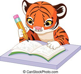Tiger Learns - Illustration of cute tiger cub studying