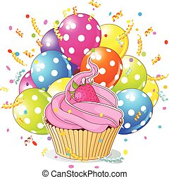 Birthday Cupcake with Balloons - Illustration of a birthday...