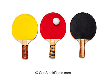 Row of ping pong paddles on white - A row of ping pong...