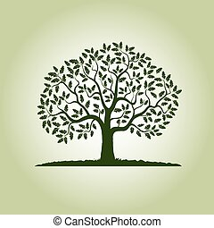 Color Oak Tree. Vector Illustration.