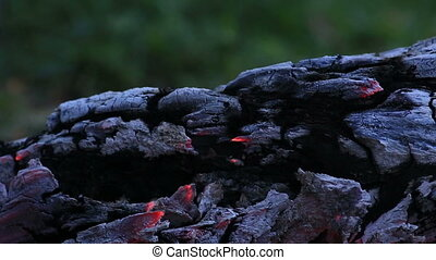 Beautiful log smoldering in fire. - Beautiful log smoldering...